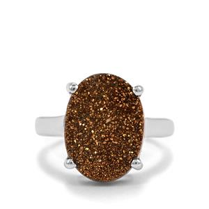 Lemon Gold Drusy Ring in Sterling Silver 7.04cts