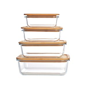 4pc Rectangular Glass Food Storage Set with Bamboo Vented Lid
