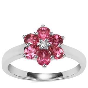 Cruzeiro Pink Tourmaline Ring with White Topaz in Sterling Silver 0.74ct