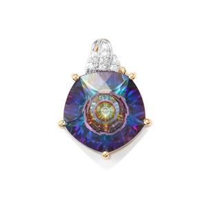 Lehrer QuasarCut Mystic Topaz Pendant with Diamond in 9K Gold 6.56cts
