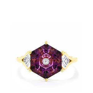 Lehrer TorusRing Ametista Amethyst Ring with Diamond in 10K Gold 2.86cts