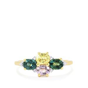 Natural Sakaraha Rainbow Sapphire & Diamond 9K Gold Ring ATGW 1.38cts
