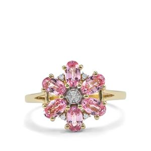 Sakaraha Pink Sapphire & Diamond 9K Gold Ring ATGW 1.82cts