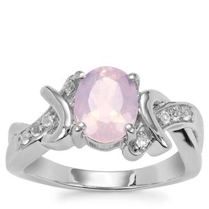 Sapucaia Quartz Ring with White Topaz in Sterling Silver 1.82cts