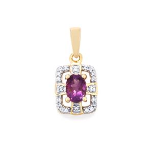 Moroccan Amethyst Pendant with White Zircon in 10K Gold 0.90ct