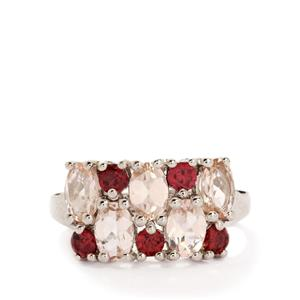 Morganite & Rajasthan Garnet Sterling Silver Ring ATGW 2.71cts