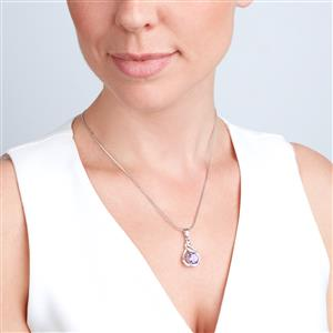Moroccan Amethyst Pendant with Diamond in Sterling Silver 2.51cts