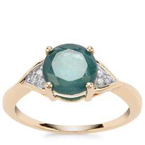 Grandidierite Ring with Diamond in 10K Gold 1.93cts