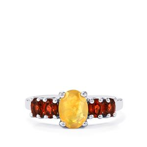 Ethiopian Opal & Rhodolite Garnet Sterling Silver Ring ATGW 1.60cts