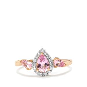 Imperial Pink Topaz & White Zircon 9K Gold Ring ATGW 1.17cts