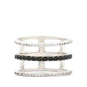 Black Spinel & White Topaz Sterling Silver Ring ATGW 0.73cts