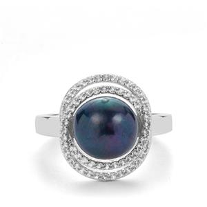 Kaori Cultured Pearl Ring with White Topaz in Sterling Silver (9mm)