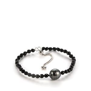 Tahitian Cultured Pearl & Black Agate Sterling Silver Slider Bracelet (11mm)