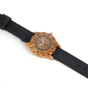 Lapis Lazuli Zebrawood Navy Genuine Leather Strap Watch