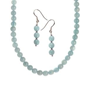 Aquamarine Set of Necklace & Earrings in Sterling Silver 122.60cts