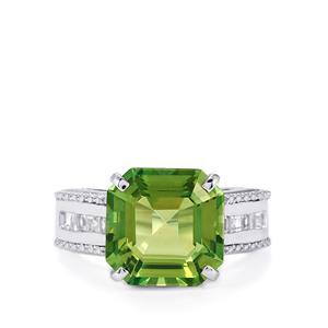 Fern Green Quartz & White Topaz Sterling Silver Asscher Cut Ring ATGW 7.97cts
