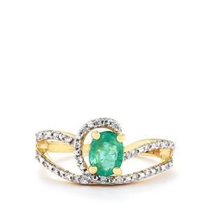 Zambian Emerald & White Zircon 10K Gold Ring ATGW 0.81cts
