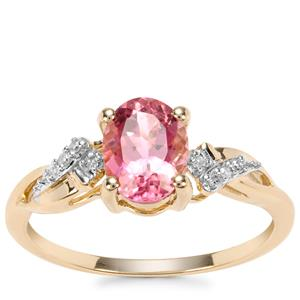 Congo Pink Tourmaline Ring with Diamond in 9K Gold 1.31cts