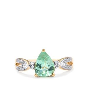 Paraiba Tourmaline Ring with Diamond in 18k Gold 1.39cts