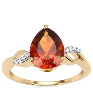 Madeira Citrine Ring with Diamond in 9K Gold 1.83cts