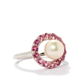 Freshwater Cultured Pearl Ring with Pink Tourmaline in Sterling Silver 4.37cts