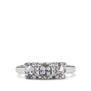 Bi Colour Tanzanite & White Topaz Sterling Silver Ring ATGW 1.07cts