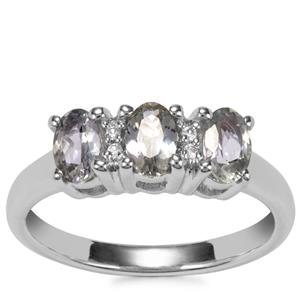 Bi Colour Tanzanite Ring with White Topaz in Sterling Silver 1.07cts