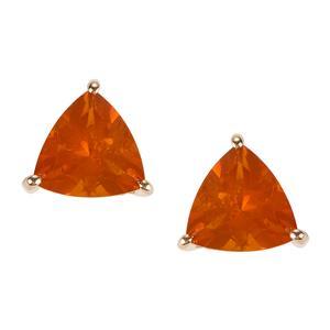 AAA Orange American Fire Opal Earrings in 9K Gold 2.31cts