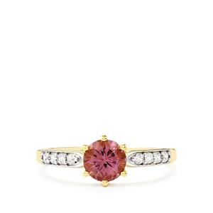 Mahenge Purple Spinel Ring with White Zircon in 9K Gold 1cts