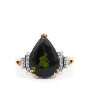 Green Tourmaline Ring with Diamond in 18K Gold 6.38cts