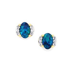 Boulder Opal Earrings with White Zircon in 9K Gold
