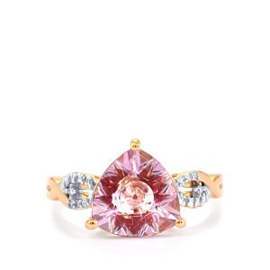 Lehrer KaleidosCut Rose De France Amethyst, Malagasy Ruby Ring with Diamond in 9K Rose Gold 2.72cts (F)