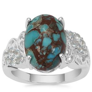 Egyptian Turquoise Ring with Sky Blue Topaz in Sterling Silver 6.47cts