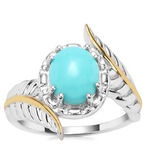 Sleeping Beauty Turquoise Ring in Sterling Silver 2.20cts