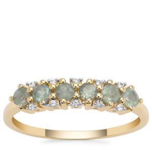 Orissa Alexandrite Ring with White Zircon in 9K Gold 0.65ct