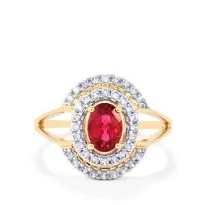 Cruzeiro Rubellite Ring with White Zircon in 9K Gold 1.28cts