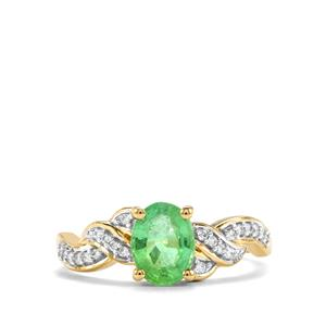 Paraiba Tourmaline Ring with Diamond in 14K Gold 1.20cts