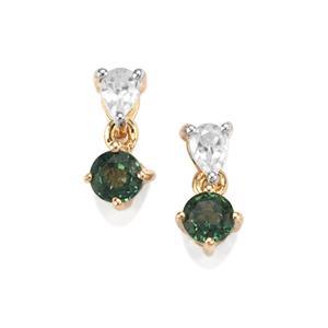 Capricorn Parti Sapphire & White Zircon 9K Gold Earrings ATGW 1.19cts