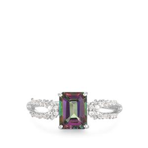 Mystic Topaz Ring with White Topaz in Rhodium Flash Sterling Silver 1.75cts
