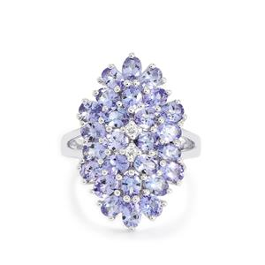 AA Tanzanite & White Topaz Sterling Silver Ring ATGW 4.71cts