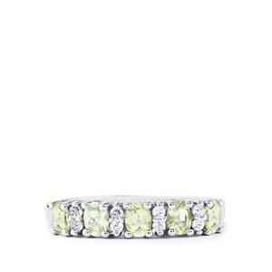 Lemanja Amblygonite & White Topaz Sterling Silver Ring ATGW 0.85cts