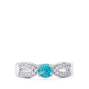 1ct Ratanakiri Blue & White Zircon Sterling Silver Ring