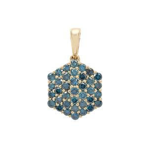 3/4ct Blue Diamond 9K Gold Pendant