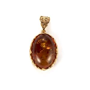 Baltic Cognac Amber Pendant in Gold Plated Sterling Silver (25 x 18mm)