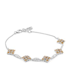 Yellow Tourmaline, Diamantina Citrine Bracelet with White Zircon in Sterling Silver 2.02cts