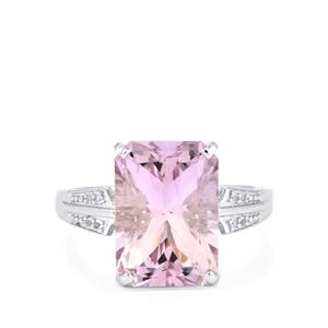 Rose De France Amethyst Ring with White Topaz in Sterling Silver 6.91cts