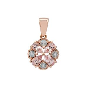 Cherry Blossom Morganite Pendant with Aquaiba™ Beryl in 9K Rose Gold 0.95ct