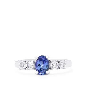 Tanzanite Ring with White Topaz in Sterling Silver 1.32cts