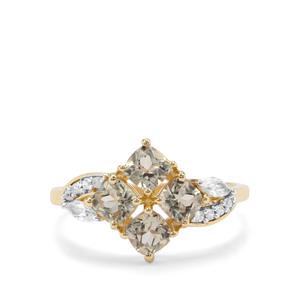 Csarite® & White Zircon 9K Gold Ring ATGW 1.58cts