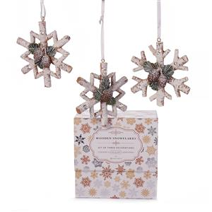 Set of 3 Wooden Look Snowflake Decorations with Clear Quartz ATGW 4.14cts